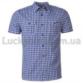 Lee Cooper Мужская рубашка с кортким рукавом M Royal/White