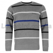Pierre Cardin Stripe Crew Jumper Mens S Silver/Royal