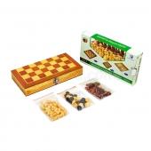 Шахматы, шашки, нарды 3 в 1 деревянные W2408