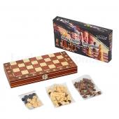Шахматы, шашки, нарды 3 в 1 с магнитом деревянные W7701H